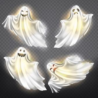Conjunto de fantasmas brilhantes - felizes, tristes ou com raiva, sorrindo silhuetas fantasmas brancas