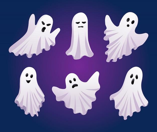 Conjunto de fantasmas. conceito de dia das bruxas. ícones de fantasma isolados
