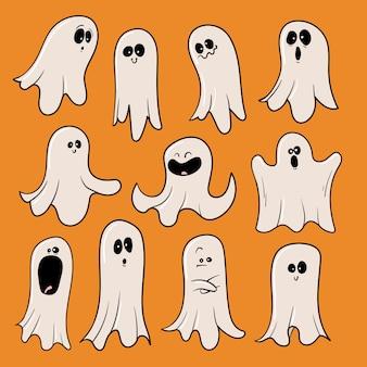 Conjunto de fantasmas de halloween coleção