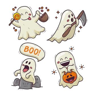Conjunto de fantasmas de halloween com desenho desenhado à mão