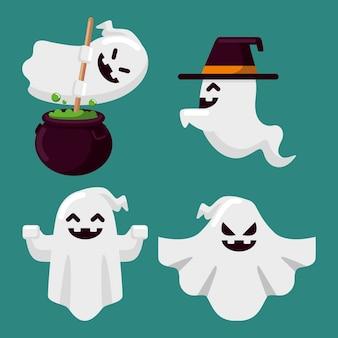 Conjunto de fantasmas de halloween de design plano