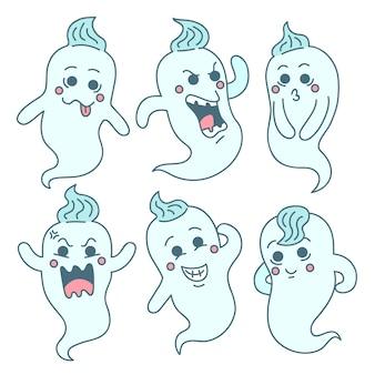 Conjunto de fantasmas de halloween desenhado à mão