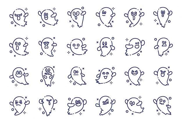 Conjunto de fantasmas emoji para halloween, ícones de contorno isolado vector em branco