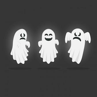 Conjunto de fantasmas engraçados. feliz dia das bruxas