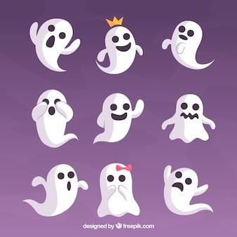 Conjunto de fantasmas engraçados