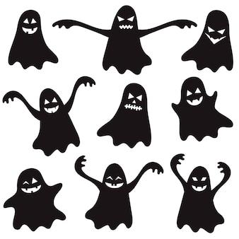 Conjunto de fantasmas pretos de halloween para