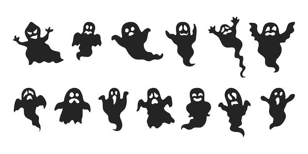 Conjunto de fantasmas. silhueta assustador de halloween. fantasia de terror
