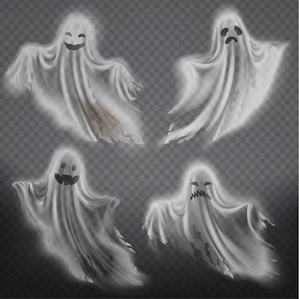 Conjunto de fantasmas translúcidos - feliz, triste ou com raiva, sorrindo silhuetas fantasmas