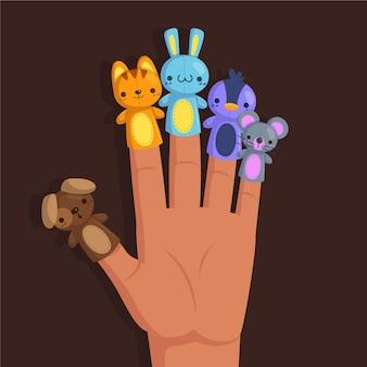 Conjunto de fantoches de dedo de desenho animado