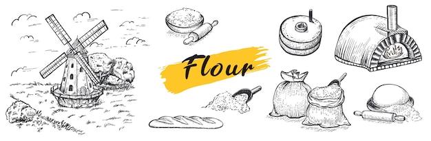 Conjunto de farinha, moinho manual, moinho de vento, fogão napolitano, trigo, grãos, ingredientes. desenhado à mão. estilo de gravura. grande conjunto.