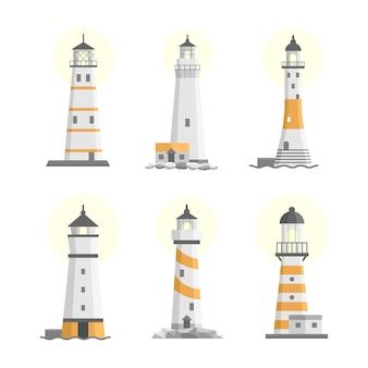 Conjunto de faróis isolados plana dos desenhos animados