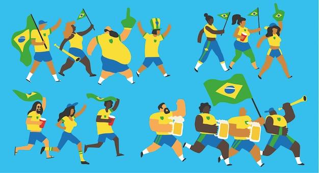 Conjunto de fãs de futebol do brasil