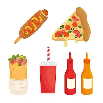 Conjunto de fast food, almoço ou refeição