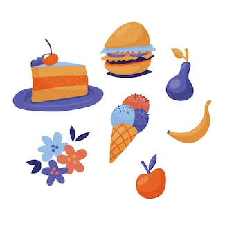 Conjunto de fast food - bolo, hambúrguer, sorvete e frutas, estilo plano bonito