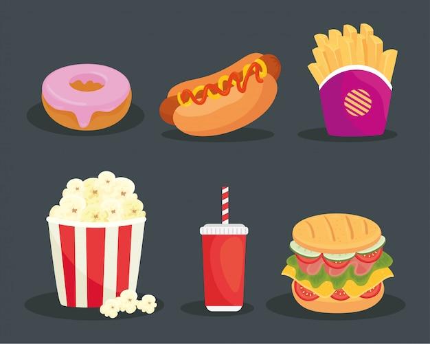 Conjunto de fast food delicioso em cinza