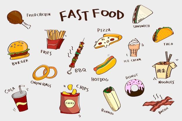 Conjunto de fast food desenhado à mão