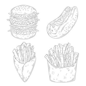Conjunto de fast-food doodle mão desenhada. hambúrguer, cachorro-quente, batata frita.