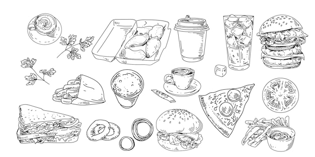 Conjunto de fast food e bebidas. lineart vector