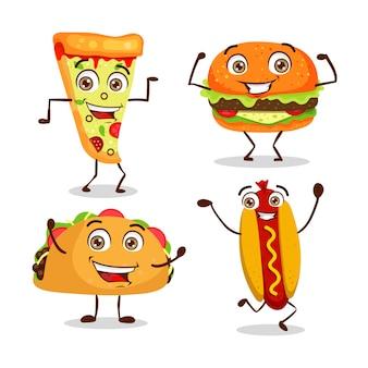 Conjunto de fast-food feliz dos desenhos animados