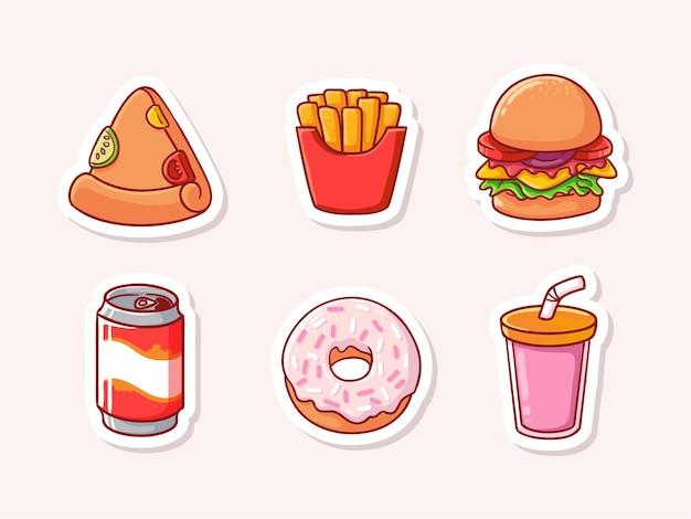 Conjunto de fast food fofo isolado no branco