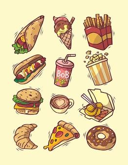 Conjunto de fast food gostoso desenhado à mão
