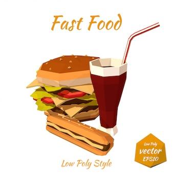 Conjunto de fast food: hambúrgueres, cachorro-quente com mostarda, refrigerantes bebem com um canudo isolado. estilo baixo poli