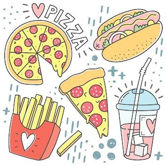 Conjunto de fast food icon doodle isolado no fundo branco