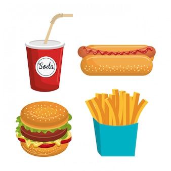 Conjunto de fast-food isolado ícone do design