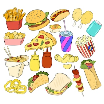 Conjunto de fast food mão desenhados adesivos doodles