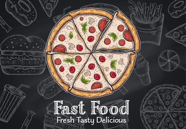 Conjunto de fast-food vintage. mão desenhada, rotulação, esboço