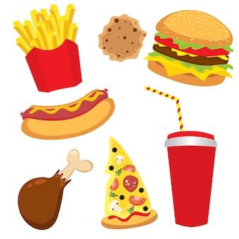 Conjunto de fast foods coloridos para restaurante