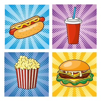 Conjunto de fastfood pop art como cachorro-quente com refrigerante e hambúrguer