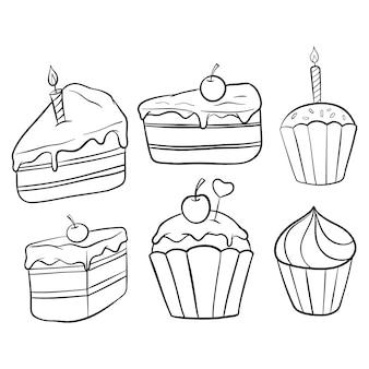 Conjunto de fatia de bolo e cupcake com doodle ou estilo mão desenhada em branco