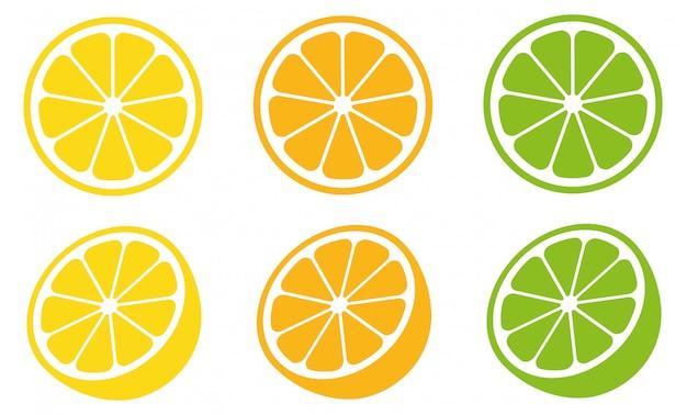Conjunto de fatia de citrino, fatia de limão e fatia de laranja.
