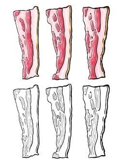 Conjunto de fatias de bacon de mão desenhada. isolado no branco. doodle. esboço. Vetor Premium