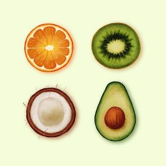 Conjunto de fatias de frutas realistas