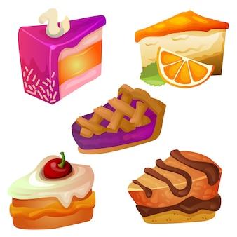 Conjunto de fatias deliciosas de bolo