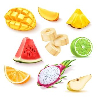 Conjunto de fatias realistas de frutas exóticas frescas de vetor