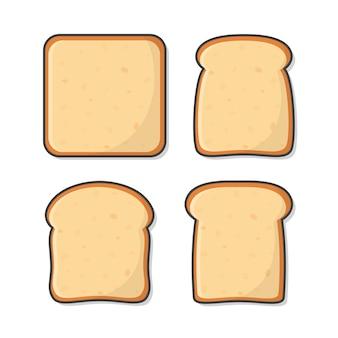 Conjunto de fatias torram pão.
