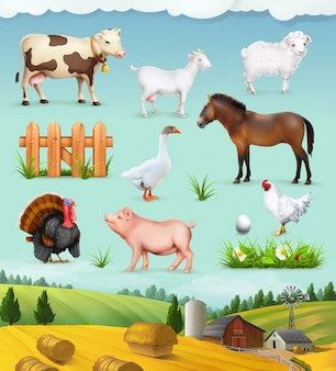 Conjunto de fazenda, animais e pássaros