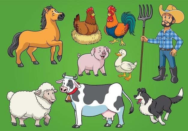 Conjunto de fazenda de fazendeiros e animais