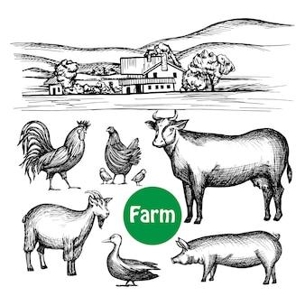 Conjunto de fazenda desenhada de mão