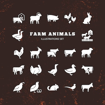 Conjunto de fazenda e silhuetas de animais de fazenda