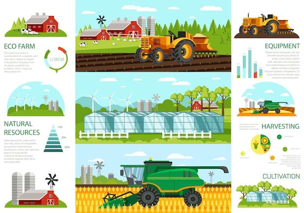 Conjunto de fazenda ecológica e equipamentos de recursos naturais.
