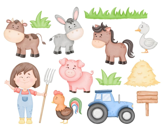 Conjunto de fazenda fofo em aquarela para crianças imprimir