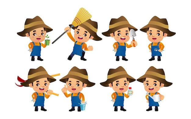 Conjunto de fazendeiro com diferentes poses