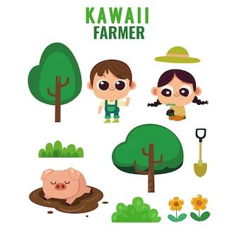 Conjunto de fazendeiro kawaii