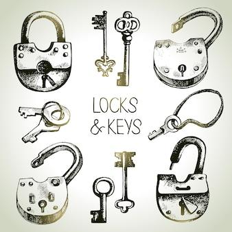 Conjunto de fechaduras e chaves de esboço desenhado de mão. ilustração vetorial