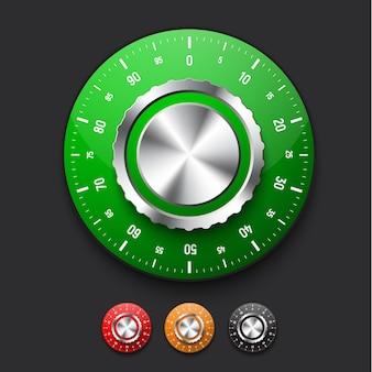 Conjunto de fechaduras realistas do cofre com mostrador de várias cores.