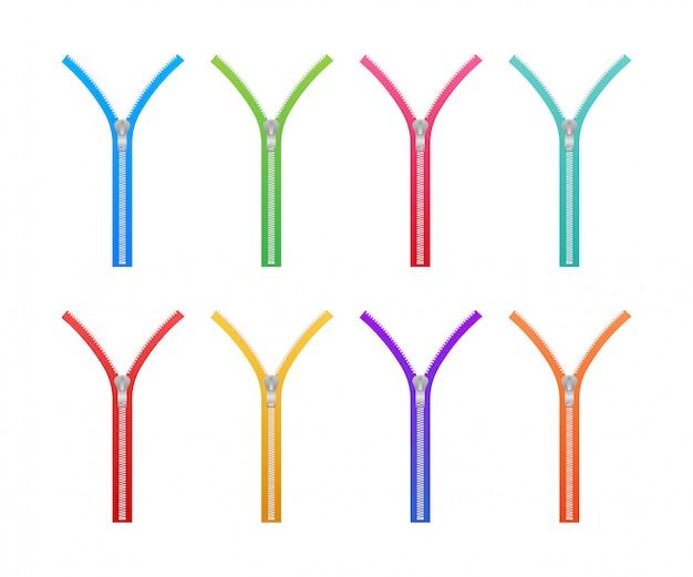 Conjunto de fechos tipo zíper. fechos e puxadores metálicos fechados e abertos. ilustração.